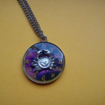 3D Astrological Sign Cancer , Necklace,Pendant,Zodiac Charm, Astrology,horoscope,Birth­day gift