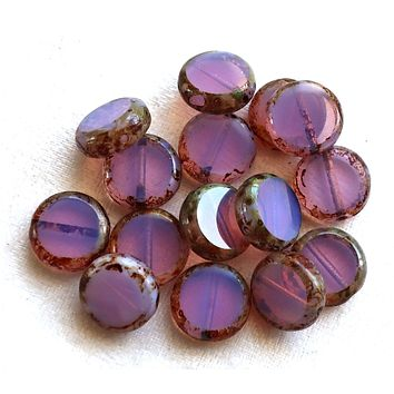 15 lilac Czech glass coin, disc beads, flat round beads, translucent milky purple, lavender, opal picasso beads 59101