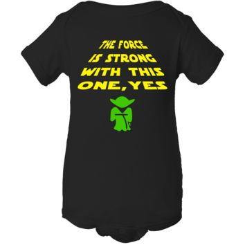 """Force Is Strong Yoda"" Inspired Creeper Baby Onesuit"