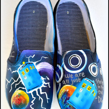 Doctor Who Custom Shoes for Women, Painted Canvas Shoes, Shoes for Her, Custom Shoes