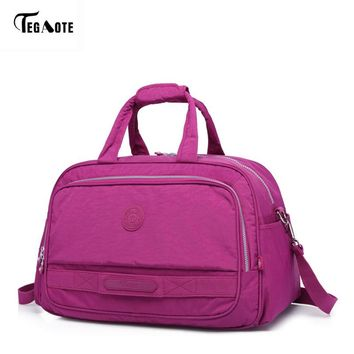 TEGAOTE Men's Travel Bag Fashion Nylon Solid Unisex Large Capacity Duffle Business Trip Big Luggage Bags Travel Totes Women