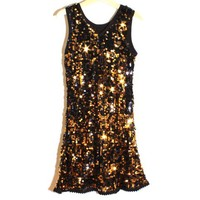 smilekids | Fully Lined Lace Trim Sequin Sparkly Dance Dress in Black and Gold - Ages 3 to 7 years | Online Store Powered by Storenvy