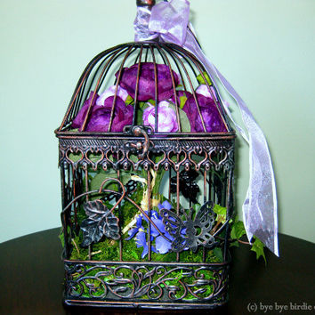 Decorative Birdcage / Black Metal with Purple Flowers and Ribbon / Centerpiece Bird cage/ Square