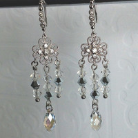 Bridal Jewelry / Wedding Jewelry / Statement chandelier earrings / Swarovski crystals earrings / Clear and silver crystals earrings