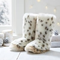 Faux Fur Booties, Snow Leopard