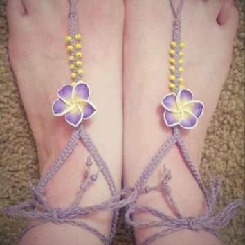 Womens Barefoot Sandals Hemp Purple Hawaiian Flower Lavender Jewelry Hemp Bottomless Sandals