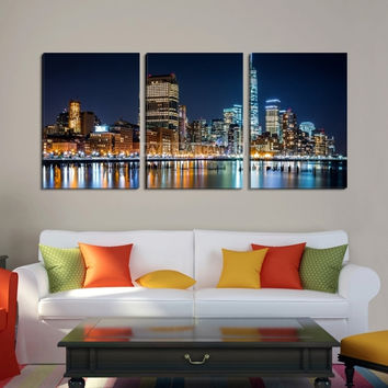 Large Wall Art NEW YORK Canvas Prints - New York City at Night with Colorful Lights