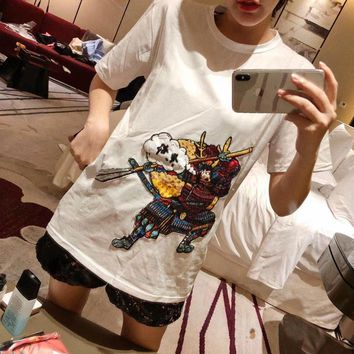 """Louis Vutitton"" Women Personality Casual Fashion Embroidery Sequin Warrior Pattern Short Sleeve T-shirt Top Tee"