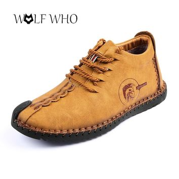 Men Shoes Casual Genuine Leather Moccasin Handmade Winter Plush Inside Tenis Masculino Adulto Big Snow Shoes Keep Warm Footwear