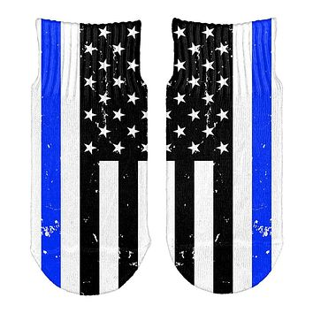Distressed Thin Blue Line American Flag All Over Toddler Ankle Socks