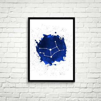 Virgo Constellation Watercolor splashes Print, Blue Constellation Wall Art, Virgo Constellation, Blue Print *12*