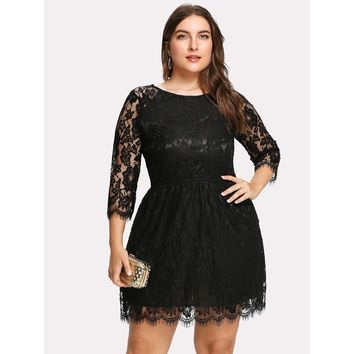 Plus Size Black Round Neck 3/4 Sleeve Length Lace Dress