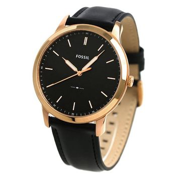 Fossil Mens FS5376 Gold Case Black Leather Band Watch