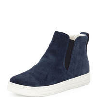 Suede High-Top Slip-On Sneaker, Navy (Oltremare) - Prada