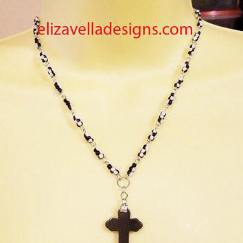 black stone cross rosary bead necklace hematite cross pendant glass beaded jewelry goth religious jewelry