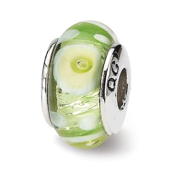 Sterling Silver Reflections Green/White Hand-blown Glass Bead