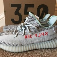 ADIDAS ORIGINALS YEEZY BOOST 350 V2 UK 12.5 BLUE TINT - Receipt Included