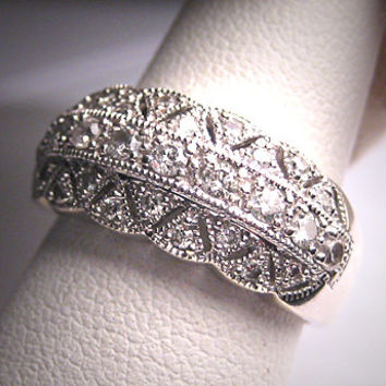 Vintage Diamond Wedding Ring Band Art Deco White Gold