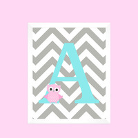 Light Aqua First Initial on Gray Chevron with Owl Baby Nursery Art CUSTOMIZE YOUR COLORS 8x10 Prints Nursery Decor Print Art Baby Room Decor