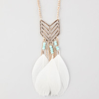Full Tilt Chevron Feather Pendant Necklace Antique Gold One Size For Women 26094862301
