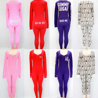Victoria's Secret Pink Thermal One Piece Long Jane Bling Pajamas XS-S-M-L NWT