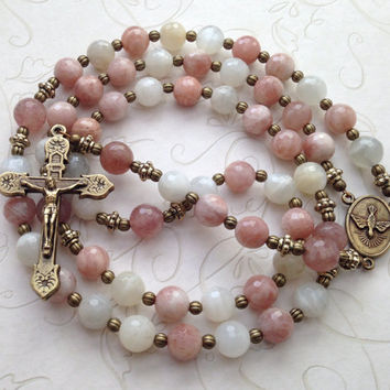 Catholic Rosary, Muscovite Beads, Holy Spirit, Vintage Style Bronze Crucifix, Pink Rosary, Catholic Gift, Prayer Beads