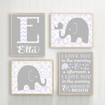 ELEPHANT Nursery Wall Art, Lilac Gray Elephant Nursery Decor, I Love You Quote Baby Girl Elephant Decor, Elephant Canvas or Print Set of 4