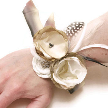 Prom Corsage  Ivory Gold Wrist Corsage  Mother Of by hARTjewelry