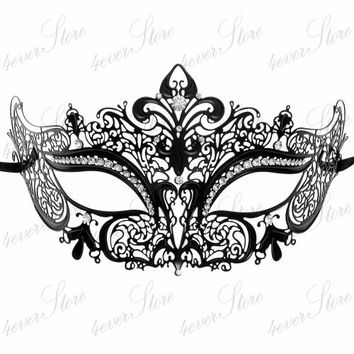 Luxury Black Laser Cut Venetian Masquerade Mask Cosplay with Sparkling Rhinestones - Made of Light Metal