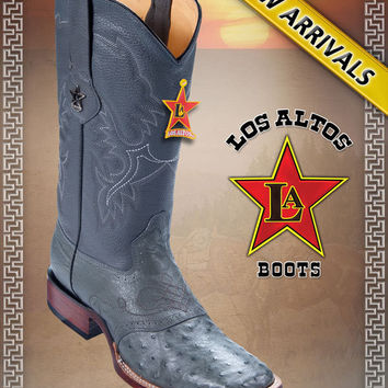 LOS ALTOS BOOTS OSTRICH W/SADDLE WESTERN BOOTS WIDE SQUARE TOE ,Black Cherry,Gray ,Cognac