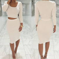 Fashion round neck two-piece dress