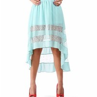 Mint Hi Low Skirt with Lace