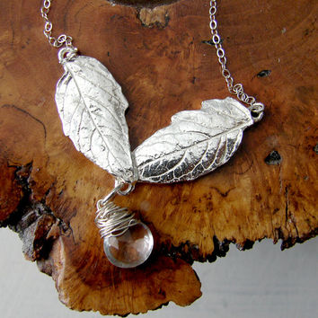 Silver Leaf Necklace with Clear Quartz Briolette