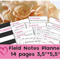 Traveler's notebook insert printables mtn field notes tn inserts pocket planner pages 2016 undated small planner