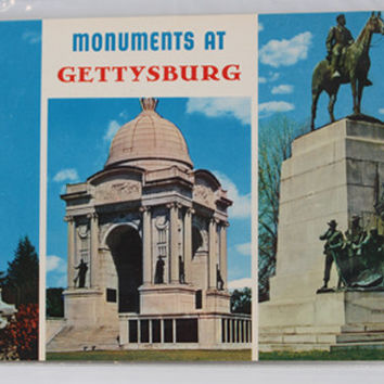 MONUMENTS at GETTYSBURG Card, Vintage post card, Collectible souvenir post card, Gettysburg Color Post Card,Historical Souvenir,vintage card