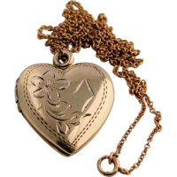 Vintage Double Heart Gold Locket Engraved and 10k Yellow Solid Gold Chain