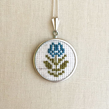 Cross Stitch Tulip Necklace Daisy Jewelry Embroidered Flower Pin or Pendant Blue Tulip Stitched Tulip Pendant