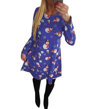 Spring Winter Dress Women Casual Snowman Snowflake Printed Cute Kawaii Dresses O-neck Long Sleeve Knee- Length Party Dress