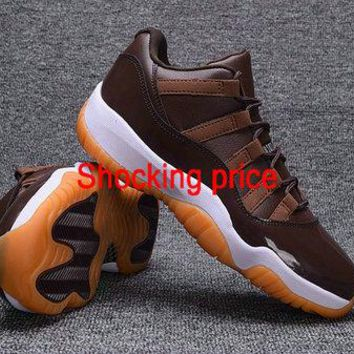 Newest Air Jordan 11 Retro XI Low Chocolate Gum Bright Citrus fashion shoe
