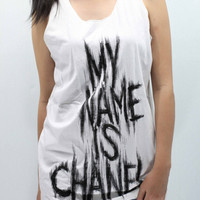 CHANEL CoCo CHANEL Tank Top women handmade drawing and silk screen printing