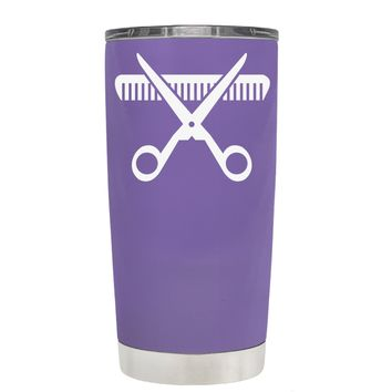 HairStylist Scissor and Comb Silhouette on Lavender 20 oz Tumbler Cup