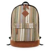 Aztec Striped Print Canvas School Backpack for Women