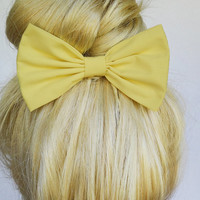 Yellow Hair Bow Clip Yellow bow Clip Yellow Hair Clip Pastel Hair Bow Light Bows Big Yellow Bow Under Bun Bow Hair ties bowtie bows girly