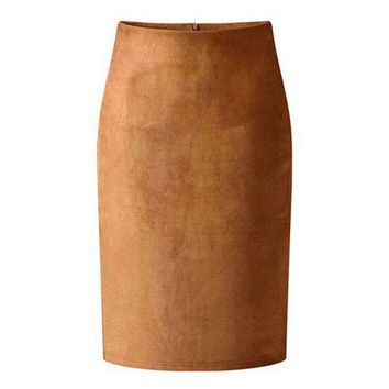 DCCKFS2 High Street Women Suede Multi Color Pencil Midi Skirt Female 2018 Spring Autumn Winter Basic Tube Bodycon Skirts