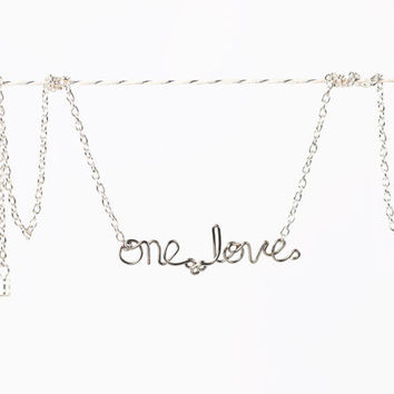 ON SALE - One Love Necklace - Bob Marley Lyrics Jewelry