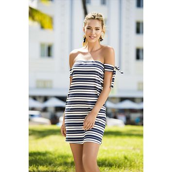 Blue & White Stripe Off The Shoulder Ribbed Beach Dress Resort Wear