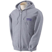 Texas Christian Horned Frogs NCAA Outline Arch Logo Grey FullZip Hooded Fleece