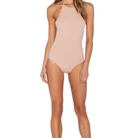 Marysia Swim Scallop One Piece Swimsuit in Tan
