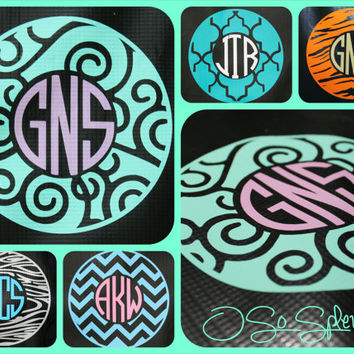 "35 Colors To Choose from - 6"" Custom Circle Monogram Car Decal - Scrolls/Swirls Outer Circle - Personalized Sticker"
