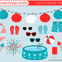INSTANT DOWNLOAD - 4th of July Pool Party - Clip Art Set - Personal and Commercial Use Clipart - No Credit Required